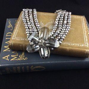 Grey Pearl and Crystal Flower Statement Chocker